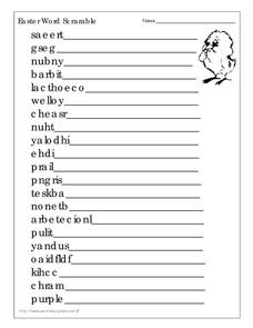 Easter Word Scramble Worksheet