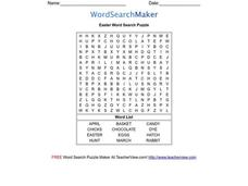 Easter Word Search Puzzle Worksheet