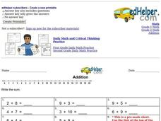Easy Addition Practice Worksheet
