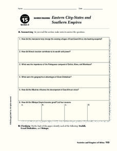 Eastern City-States and Southern Empires Worksheet