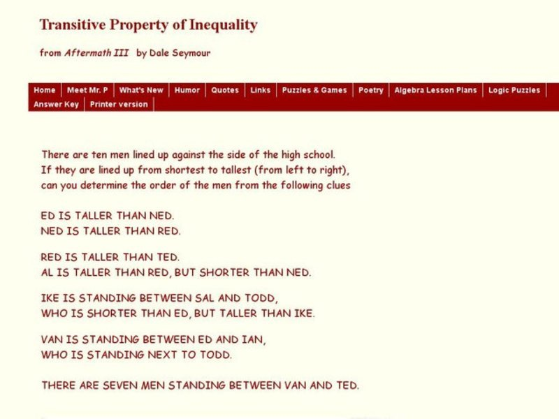Transitive Property of Inequality Lesson Plan