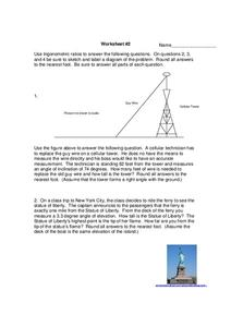 Worksheet #2:  Trigonometric Ratios Worksheet