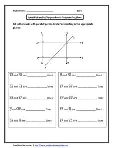identify parallel perpendicular intersecting lines worksheet for 6th 8th grade lesson planet. Black Bedroom Furniture Sets. Home Design Ideas