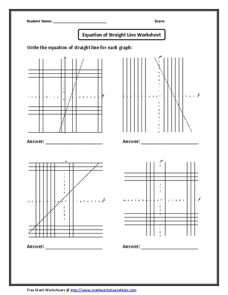 Equation of a Straight Line Worksheet Worksheet for 9th