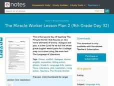The Miracle Worker Lesson Plan 2 (9th Grade Day 32) Lesson Plan
