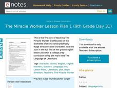 The Miracle Worker Lesson Plan 1 (9th Grade Day 31) Lesson Plan