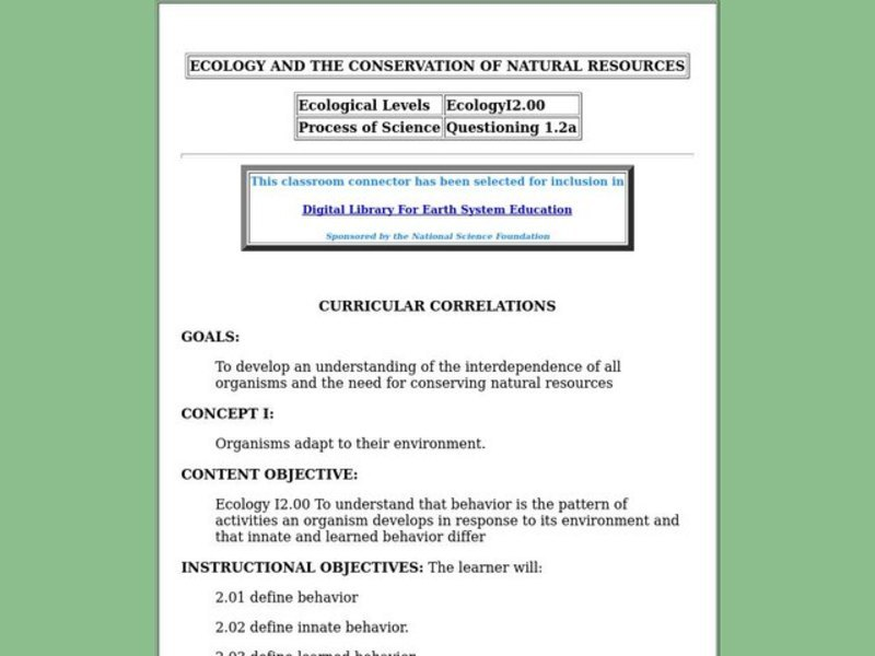 Ecology and the Conservation of Natural Resources Lesson Plan