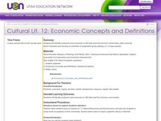 Economic Concepts and Definitions Lesson Plan
