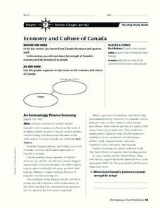 Economy and Culture of Canada Worksheet
