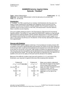 NUMB3RS Activity: Implicit Orbits Worksheet for 10th - 11th Grade ...