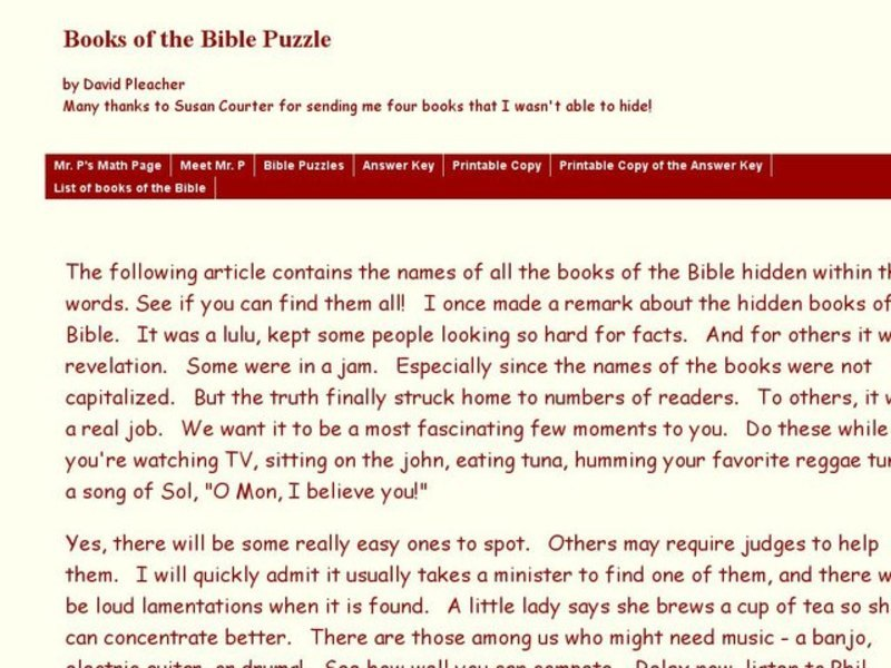 Books of the Bible Worksheet for 9th - 12th Grade | Lesson Planet