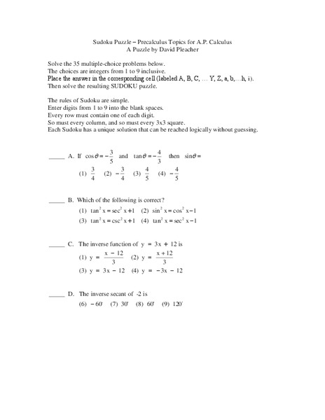 Pre Calculus Sudoku Puzzle Worksheet For 11th Grade