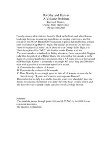 Dorothy and Kansas: A Volume Problem Worksheet
