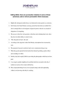 Editing Skills Worksheet