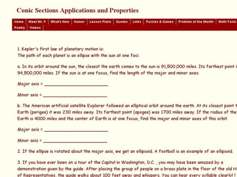 Conic Sections Applications and Properties 11th Grade Worksheet – Conic Sections Worksheet