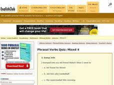 Phrasal Verbs Quiz:  Mixed 4 Interactive