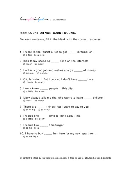 Count or Non Count Nouns Worksheet