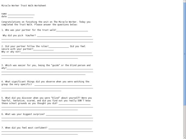 Miracle Worker Trust Walk Worksheet Worksheet For 4th 5th Grade