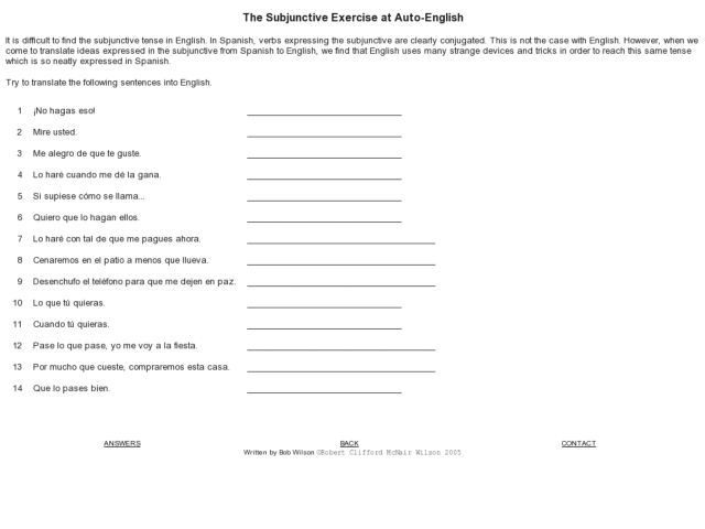 the subjunctive exercises worksheet for 8th 10th grade lesson planet. Black Bedroom Furniture Sets. Home Design Ideas