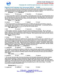 eighth grade language arts assessment 2009 2010 worksheet for 8th grade lesson planet. Black Bedroom Furniture Sets. Home Design Ideas