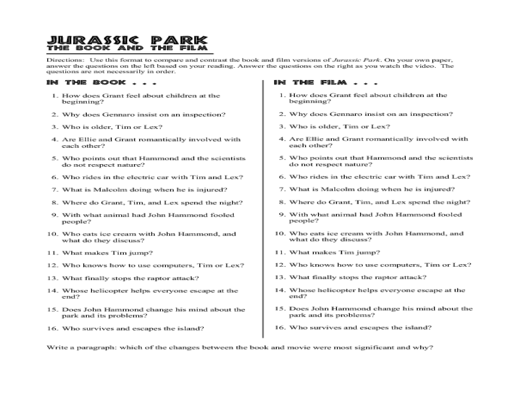 Worksheets Film Study Worksheet jurassic park movie lesson plans worksheets reviewed by teachers the book and film