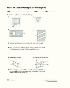 Area Of A Parallelogram Lesson Plans Amp Worksheets Lesson