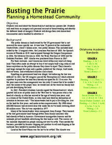 Busting the Prairie: Planning a Homestead Community Lesson Plan