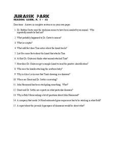 jurassic park reading guide worksheet for 6th 8th grade lesson planet. Black Bedroom Furniture Sets. Home Design Ideas