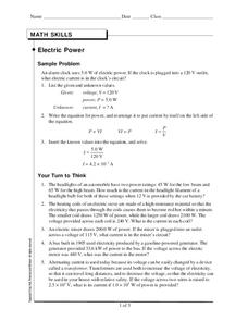 Electric Power Worksheet