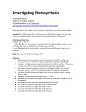 Investigating Photosynthesis Lesson Plan