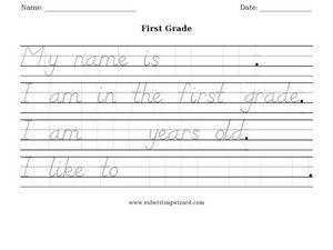 First Grade Handwriting Worksheet Worksheet for 1st Grade ...