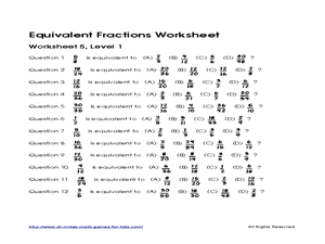 Equivalent Fractions Worksheet 5, L 1 Worksheet for 4th ...