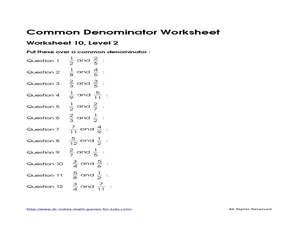 Common Denominator Worksheet 1, Level 2 Worksheet for 4th - 6th ...
