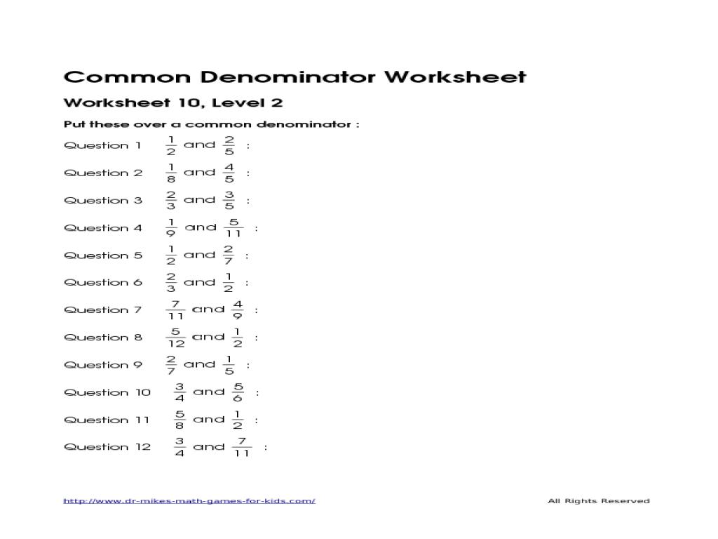 Common Denominator Worksheet 1, Level 2 4th - 6th Grade Worksheet ...