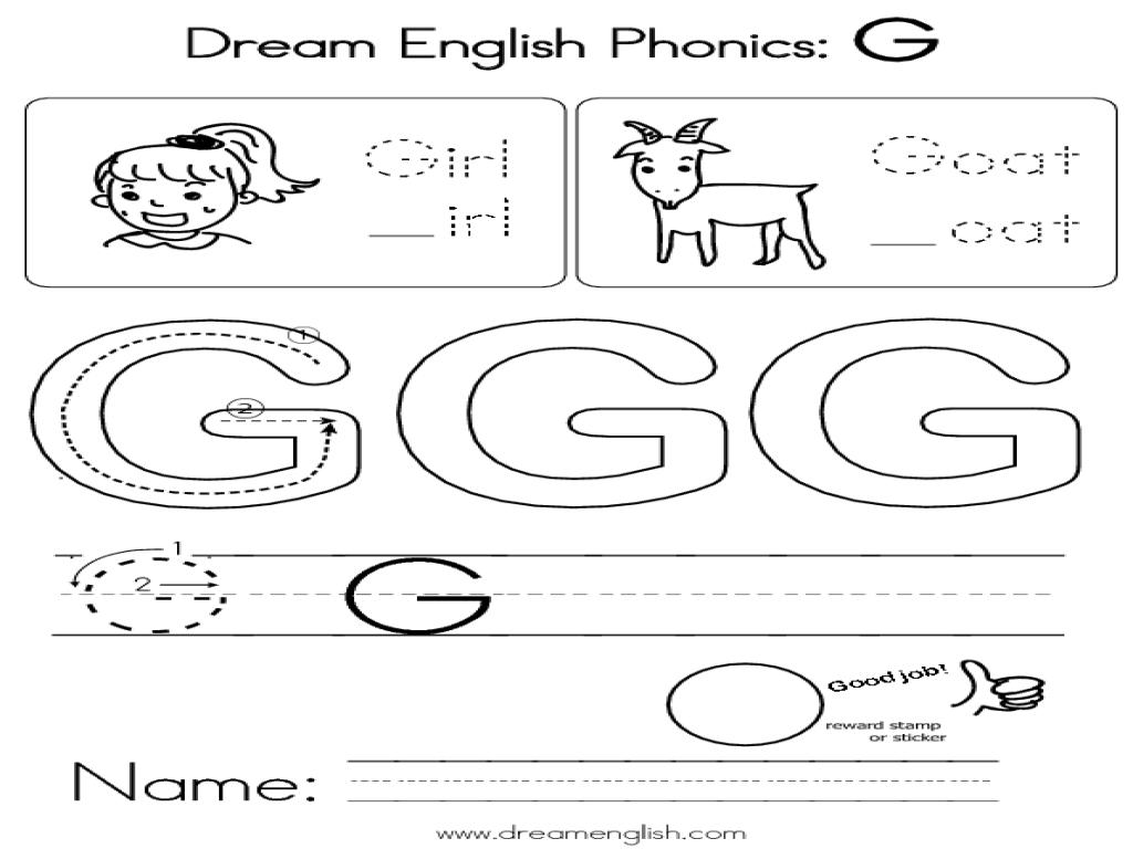 dream english phonics g worksheet for kindergarten 2nd grade lesson planet. Black Bedroom Furniture Sets. Home Design Ideas