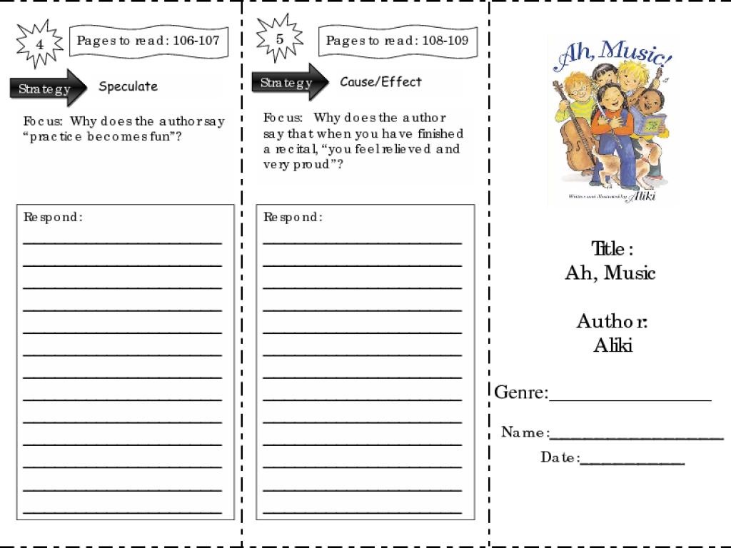 - Ah, Music!: Comprehension Skills Worksheet For 2nd - 3rd Grade
