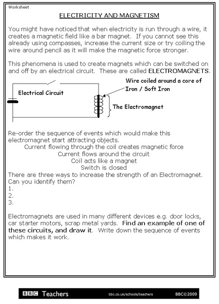 Electricity and Magnetism Worksheet for 3rd   5th Grade ...
