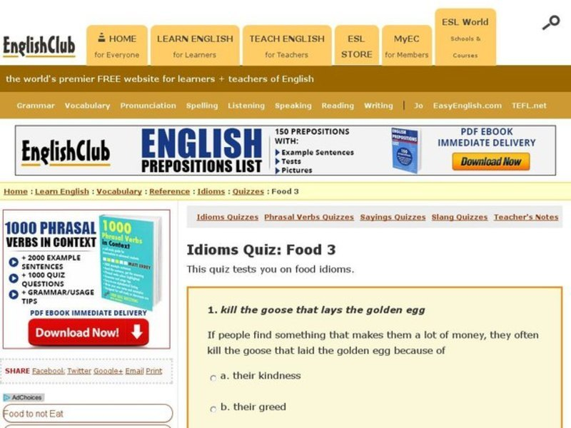 Idioms Quiz: Food 3 Interactive for 6th - 8th Grade | Lesson
