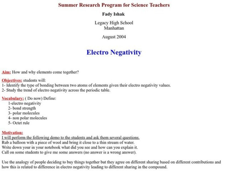 Electronegativity Lesson Plan for 9th - 12th Grade | Lesson