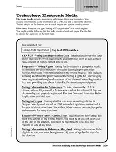 Electronic Media Worksheet