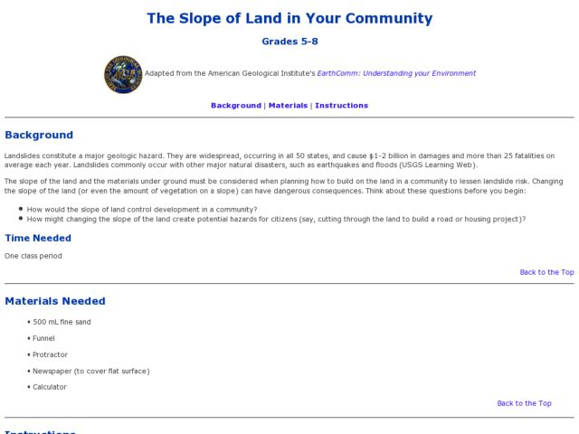 The Slope of Land in Your Community Lesson Plan