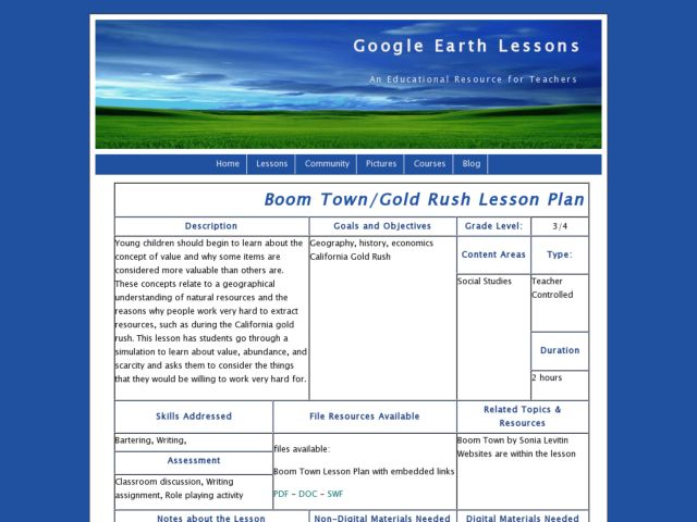 Boom Town/Gold Rush Lesson Plan