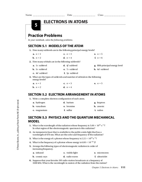 Electrons in Atoms Worksheet for 9th - Higher Ed | Lesson Planet