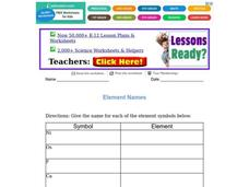 Element Names Worksheet