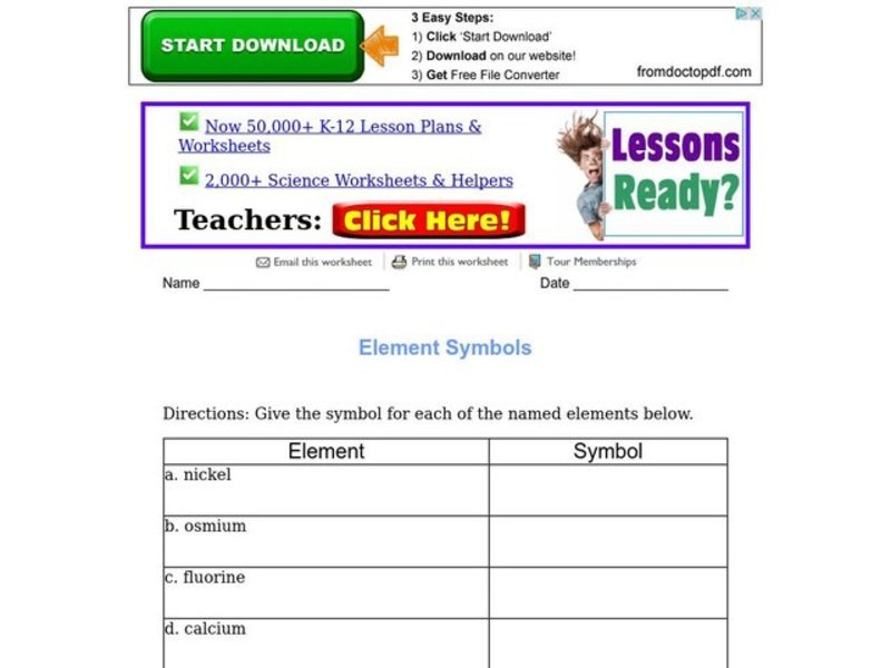 Periodic Table Lesson Plans Worksheets 553 576