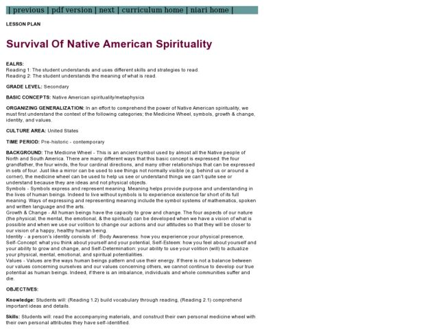 Survival Of Native American Spirituality Lesson Plan For 8th 12th