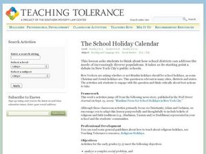 The School Holiday Calendar Lesson Plan