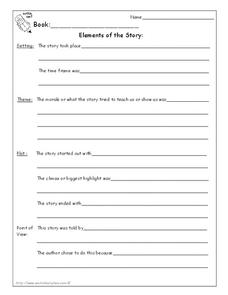 Elements of the Story Worksheet