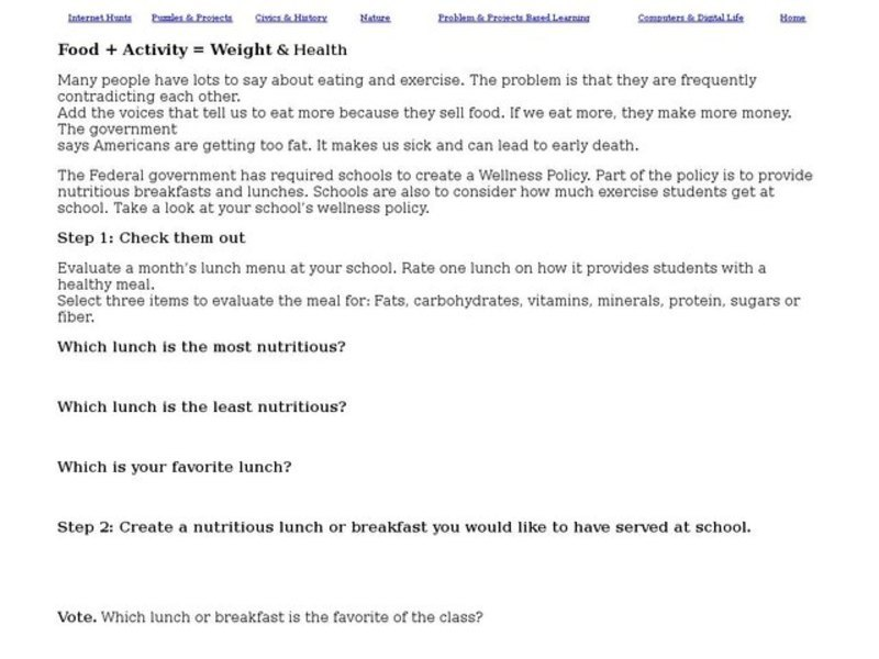 Food + Activity = Weight and Health Worksheet