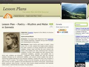 poetry rhythm and meter lesson plans worksheets. Black Bedroom Furniture Sets. Home Design Ideas